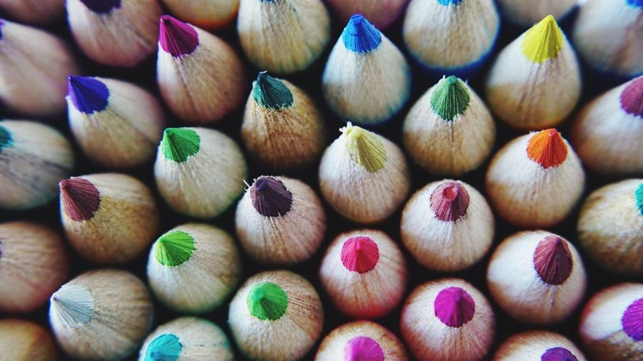 Detail shot of colored pencils