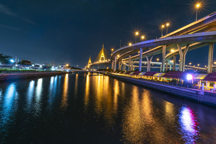 Bhumibol Adulyadej Bridge in Thailand Architecture Bridge Bridge - Man Made Structure Building Exterior Built Structure City Connection Illuminated Night No People Outdoors Reflection River Sky Street Street Light Transportation Travel Destinations Water Waterfront