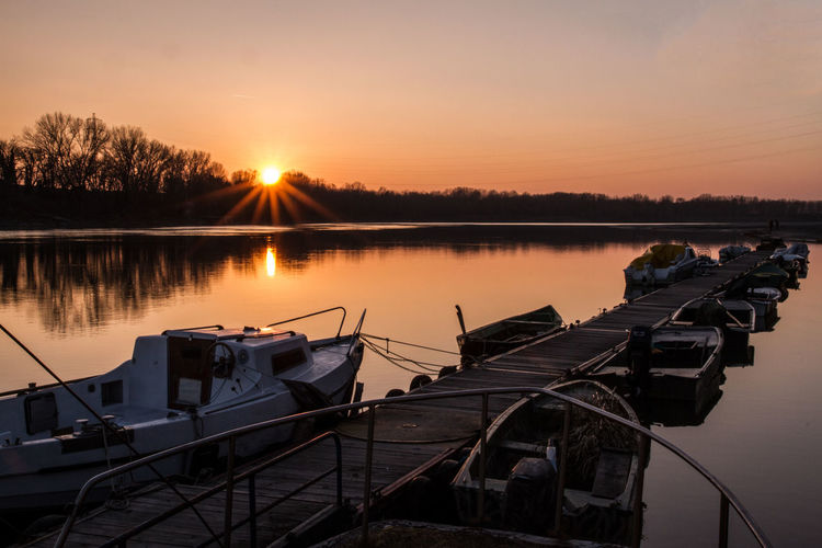 Sky Sunset Water Lake Reflection Beauty In Nature Tranquility Nautical Vessel