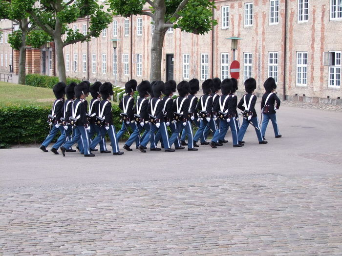 Changing of the Guard, Rosenborg Slot (Castle) Barracks Capital City Castle Changing Of The Guard Composition Copenhagen Danish Uniforms Denmark Full Frame Group Of People Historical In A Row Marching Outdoor Photography Palace Rosenborg Slot Side By Side Soldiers Tourism Tourist Attraction  Tourist Destination Tradition Tree Uniforms
