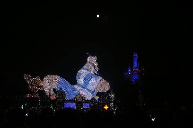 Illuminated statue of christmas lights against sky at night