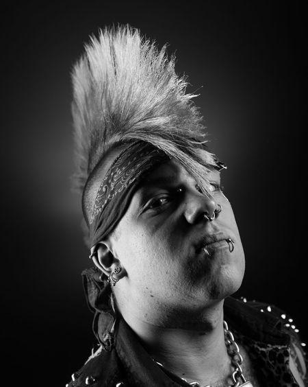 Bandana Blackandwhite Headshot Lifestyles Mohican Monochrome Monochrome_life Person Piercing Portrait Punk Serious