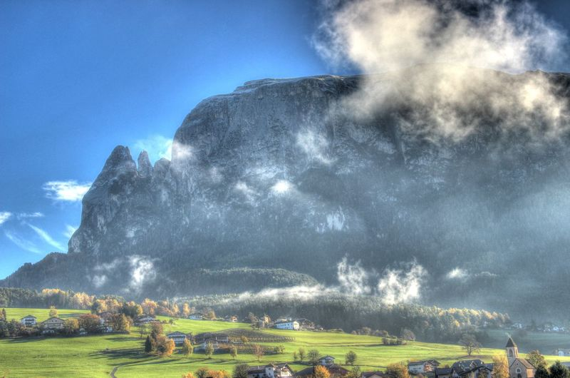 Blackandwhite Church Cloud Dolomites Dolomites, Italy Europe Feel The Journey IT Italy Mountains Original Experiences Schlern Sky Villa Vols Völs Am Schlern