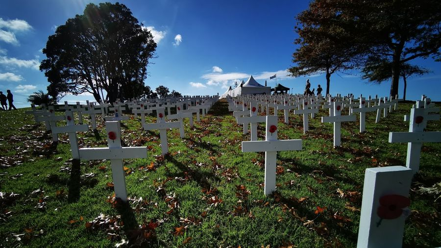 View of cemetery against sky