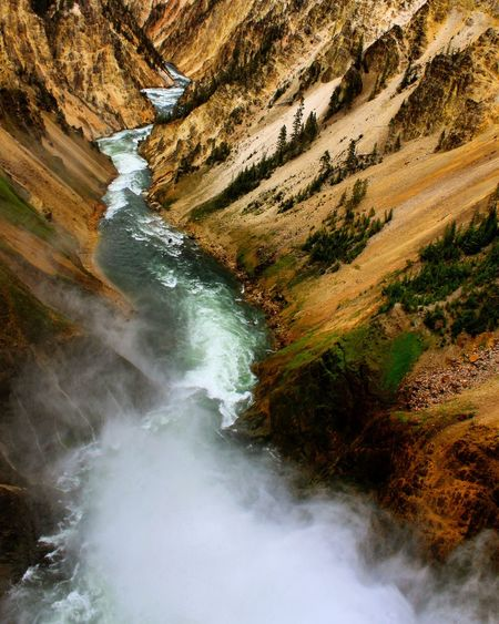 High angle view of yellowstone river amidst mountains