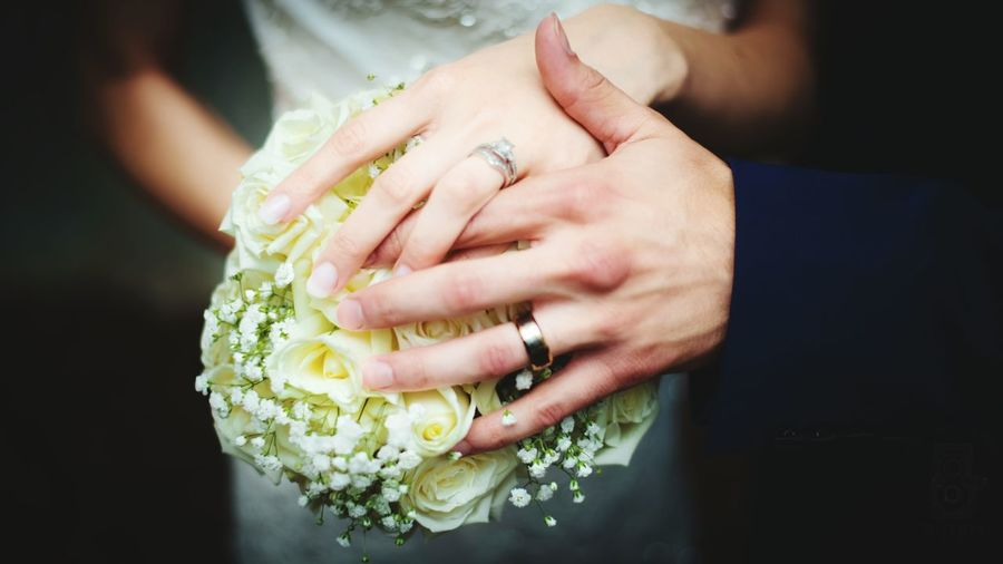 Cropped Hands Of Bride And Groom Holding White Rose Bouquet