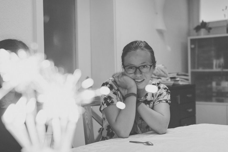 EyeEm Selects Childhood One Person Real People Front View Girls Eyeglasses  Indoors  Elementary Age Home Interior Leisure Activity Lifestyles Boys Child Holding Looking At Camera Portrait Human Hand Close-up Blackandwhite Bokeh Peoplenking] Happy Peoplephotography Be. Ready.