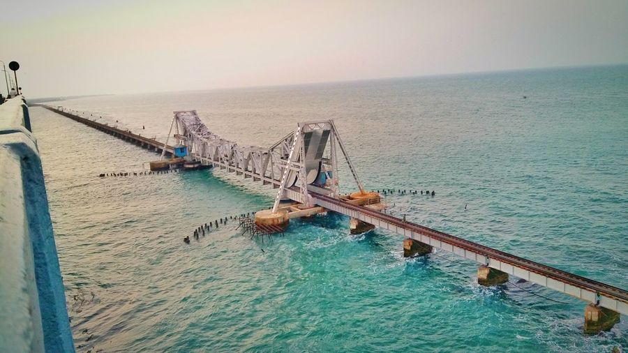Panban Bridge , Rameswaram , TN , India Panban Bridge Incredible India Architecture Indianarchitecture Religious Icons Tamilnadu Travel Check This Out Clear Sky Shades Of Sky Sunset Showcase March This Week On Eyeem Perfect View EyeEm Best Shots
