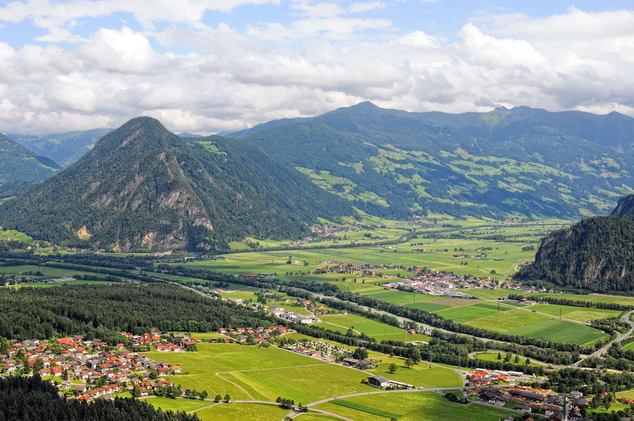 View from observation point into the inntal valley and zillertal balley. tirol, Austria. Aerial Shot Aerial View Austria Austria Mountains Day European Alps Inntal Mountain Nature No People Outdoors Summer Valley Zillertal Zillertal Alps