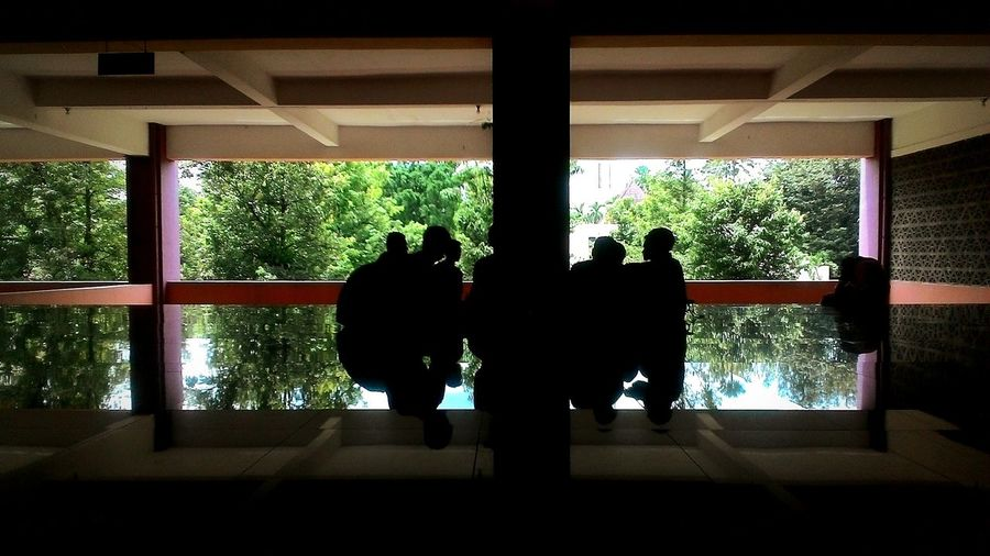 At Bogor Agricultural University INDONESIA , Mentoring Gathering Sillhouette Reflection Campus Life Moslem ActivityMobile Photography Semi Indoor