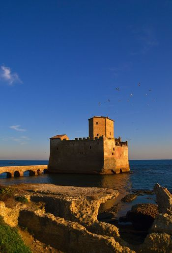 Sea Water Horizon Over Water Built Structure Nature Outdoors Day Architecture Tranquility Scenics Coastline Beach Shore Sky Velletri Nature Photography Taking Photos Torre Astura Astura Italy Sea Water Horizon Over Water Beach Blue Shore