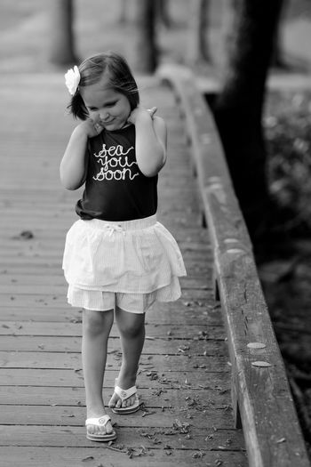 Art Is Everywhere Childhood Girls Outdoors Day Black And White Photography Real People Exceptional Photographs Monochrome EyeEm Best Shots Eye4photography  Instagood Instadaily Vertical Bridge Walking Looking Down Live For The Story