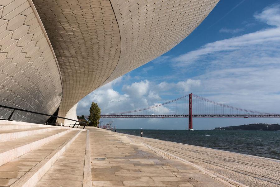 MAAT Museum - Belém Lisboa Portugal Blue Sky Tagus River River Rio Tejo Architecture Sky Water Travel Bridge Ponte Cloud - Sky Day Suspension Bridge Meuseum Museum MAAT Museum Cityscape Riverside