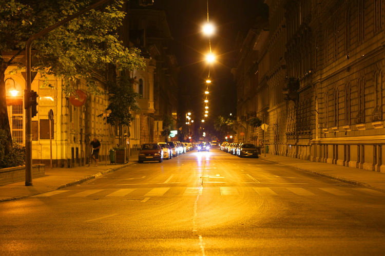 Budapest City City Life City Street Diminishing Perspective Empty Emptz Illuminated Mid-air No People Nobodz Outdoors Road Street Light Streetphotography The Way Forward Vanishing Point Wide