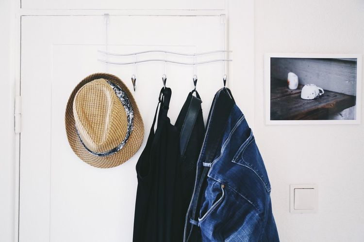Hanging No People Day Indoors  Architecture Still Life Photography Indoor Still Life Full Frame Interior Still Textile Clothes Denim Jeans Menswear Close-up Coathanger Clothing Hanging Choice Hallway Material Fashion Wear