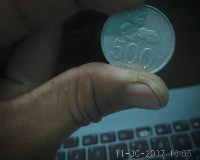 Coin 500 Rupiah.hanya aku laptop dan uang 500 rupiah Indoors  first eyeem photo