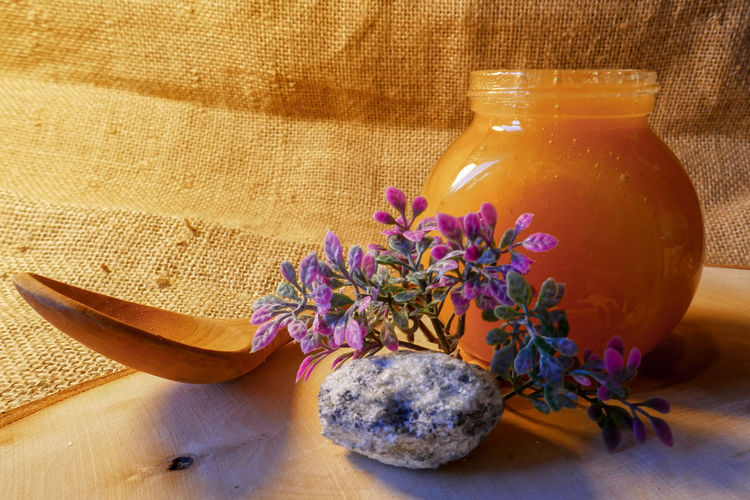 honey Wellbeing Flower Plant Flowering Plant Food And Drink Freshness No People Food Healthy Lifestyle Indoors  Still Life Wood - Material Nature Healthy Eating Container Purple Studio Shot Close-up Drink Refreshment Lavender Pitcher - Jug Honey