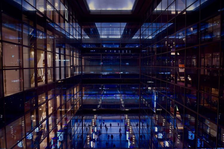 Blue Architecture Structure Blue Tokyo Street Photography Tokyo,Japan Tokyo Show Windows Light Reflection Indoors  No People Shelf Illuminated Architecture Night Network Server Supermarket Colour Your Horizn Colour Your Horizn