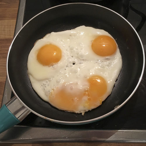 Food And Drink Egg Food Kitchen Utensil Freshness Ready-to-eat Pan Wellbeing Healthy Eating Still Life Fried Egg Household Equipment Frying Pan Indoors  Fried High Angle View Cooking Pan Breakfast Preparing Food Sunny Side Up