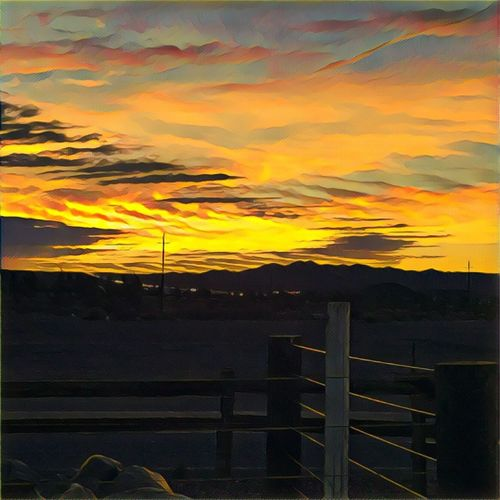 app edited sunset view from the convenience stop before the nevada state line Sunset OutdoorsEyeEm Gallery Outdoor Photography Beauty In Nature Beauty In Nature Off The Highway On The Road Edited My Way Sky Sunset_collection Light And Shadow No Edit No Fun Sky And Clouds Skyporn Artistic Renditions Sunset And Clouds  Sunsetporn Taking Photos Prisma Application Traveling Home For The Holidays No People Popular Photos Landscape_Collection Let's Do It Chic!