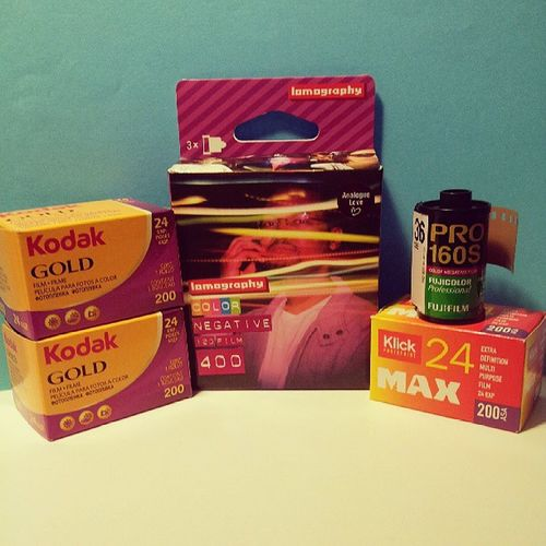Camera food. Today's menu: Kodakgold200 Lomographycolornegative400 Fujicolorpro160 & Klickmax200