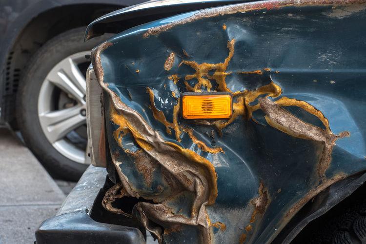 Rusty car in