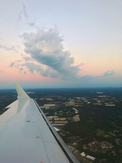 L. Jeffrey Moore Airplane Transportation Sky Air Vehicle Cloud - Sky Mode Of Transport No People Airplane Wing Sea Aircraft Wing Travel Journey Water Scenics Aerial View Nature Outdoors Sunset Beauty In Nature Flying IPhone 7 Plus
