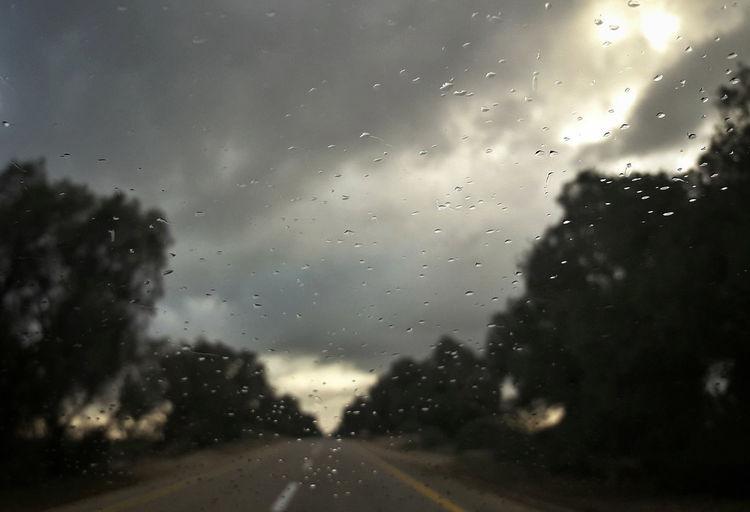 Wet glass window during rainy season