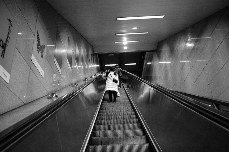 Illuminated The Way Forward Direction Transportation Architecture Railing Indoors  Lighting Equipment Real People on the move One Person Ceiling Built Structure Rear View Travel Diminishing Perspective Subway Public Transportation Walking Motion Modern Steps And Staircases Moving Walkway  Light