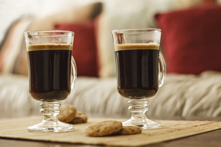 Close-Up Of Fresh Coffee Cups Served On Table