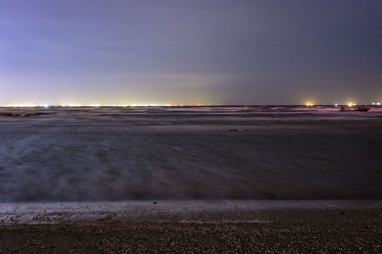 Beach Beauty In Nature Clear Sky Dusk Evening Landscape Long Exposure Nature Night No People Outdoors Salt - Mineral Sand Scenics Sea Shore Shoreline Sky Sunset Tranquil Scene Tranquility Water