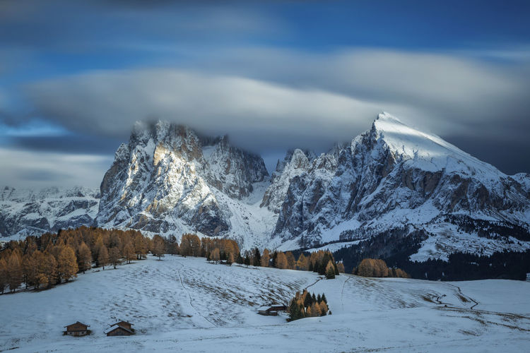 a gorgeous late autumn in Dolomites, Italy Snow Cold Temperature Beauty In Nature Scenics - Nature Cloud - Sky Sky Mountain Tranquil Scene Tranquility Nature Tree No People Landscape Day Mountain Range Non-urban Scene Snowcapped Mountain White Color Outdoors Mountain Peak Autumn Dolomites, Italy