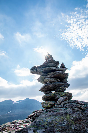 Balance Beauty In Nature Cloud - Sky Day Low Angle View Mountain Guide Nature No People Outdoors Physical Geography Rock Rock - Object Rock Formation Sky Stack Sun