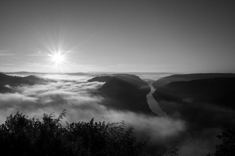 Saarschleife EyeEm Nature Lover EyeEm Black&white! Misty Saar Saarschleife Beauty In Nature Blackandwhite Blak And White Fog Germany Misty Valley Nature No People Outdoors River Saarland Scenics Silhouette Sky Sun Sunlight Tranquil Scene Tranquility Valley