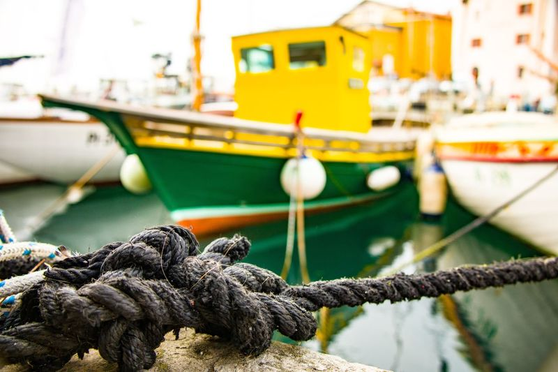 Piran harbour No People Focus On Foreground Built Structure Day Rope Architecture Water Nautical Vessel Close-up Outdoors Moored Harbor Green Color Buoy Fishing Industry Transportation