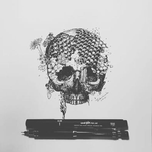 All art is but dirtying the paper delicately First Eyeem Photo Skullart Pencil Drawing