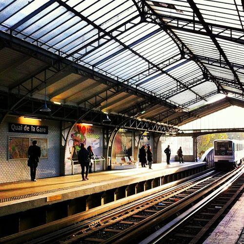 Subway Metro Quai De La Gare Ligne6 Platform Rail End Of Day From  Paris