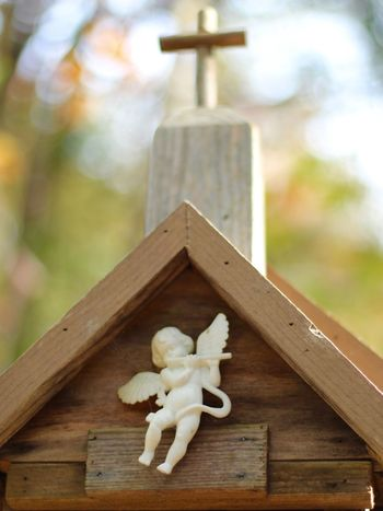 Cherub Angel Bokeh Background Bokeh Photography Christian Cross Birdhouse Sanctuary  Spiritual Bird Sanctuary Peaceful Peace In Nature Angel Wings Holy Worship Wood - Material Representation Human Representation No People Toy Art And Craft Focus On Foreground Craft Belief Religion Figurine  Built Structure Close-up Nature Creativity EyeEmNewHere Capture Tomorrow