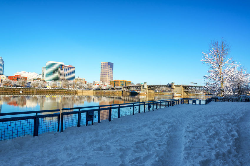 Snow covered path running through downtown Portland, Oregon Architecture Bridges City Cityscape Downtown Ice Oregon Pacific Portland Willamette River  Winter Bridge Clear Sky Cold Cold Temperature Colorful Infrastructure Northwest River Sky Snow Tree Urban Waterfront Winter
