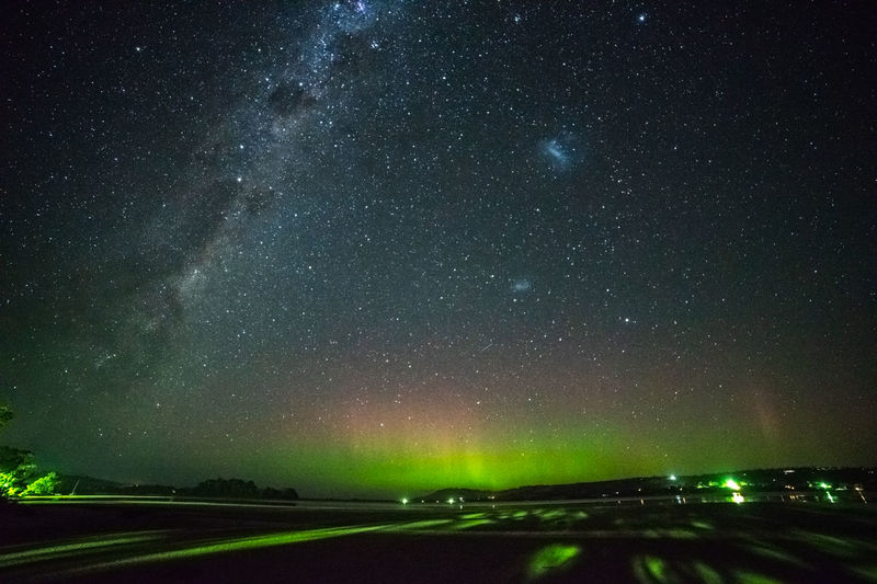 Aurora Australis and Milky Way Aurora Rays Auroral Forms And Structures Geomagnetic Disturbance Kp-index Astronomy Aurora Rays Beauty In Nature Galaxy Geomagnetic Storm Nature Night No People Outdoors Scenics - Nature Sky Solar Storm Southern Hemisphere Southern Lights Space Star - Space Tranquil Scene Tranquility