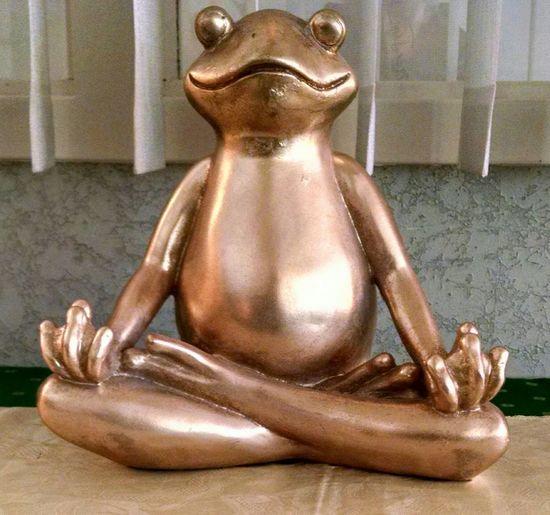 Meditation Frog Statue Frog Meditating Sculpture Statue Close-up Golden