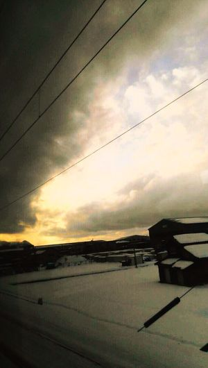 Winter Cold Winter ❄⛄ Inthetrain Snow Snow ❄ Clouds And Sky Sunset