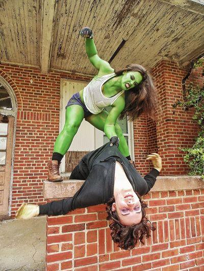 SheHulk photoshoot (I have Wonderful friends who indulge my hobby!) shehulk marvellegends marvelshots marvel comics cosplay shoot cosplay villain beatdown greenwithenvy