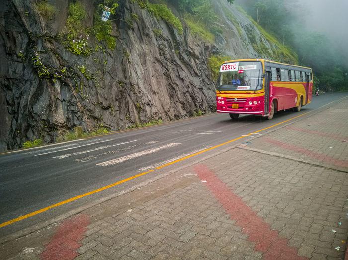 A bus moves