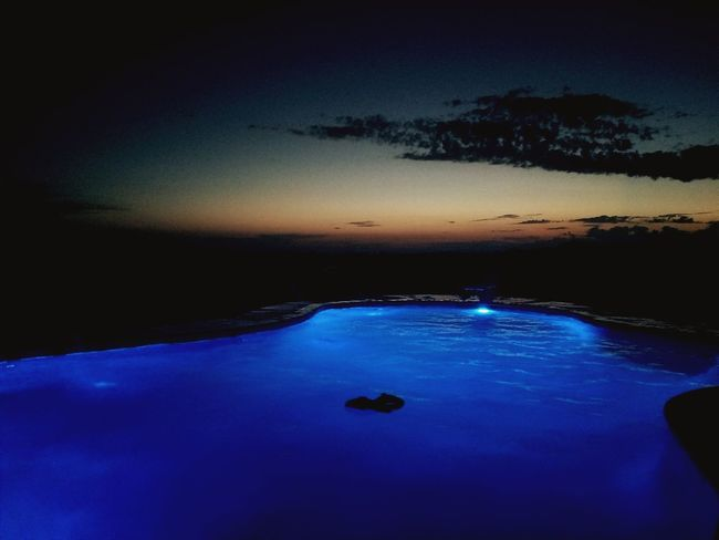 Silhouette EyeEm Selects Pool Water_collection Sunset HUAWEI Photo Award: After Dark Astronomy Water Galaxy Sunset Sea Blue Reflection Dusk Sky Star Field Infinity
