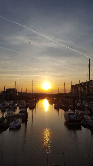 sunset mood Water Nautical Vessel Harbor Sunset Sea Shipyard City Yacht Reflection Moored Marina Sailboat Fishing Boat Sailing Yachting