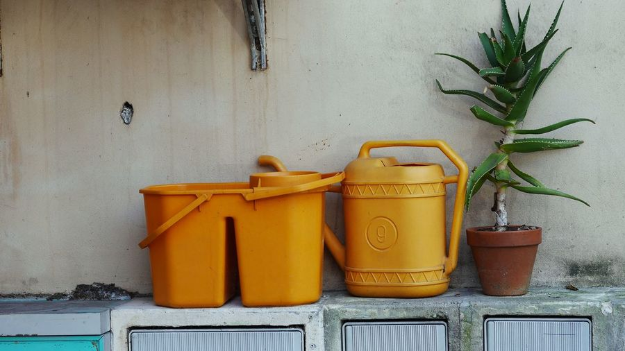 In the everyday life one color appears......silently......and for a moment life is more than you can imagine Yellow Color Plant Wall - Building Feature Growth Potted Plant Built Structure No People Yellow Watering Can Architecture Container Nature Still Life Side By Side Day Can Green Color Box