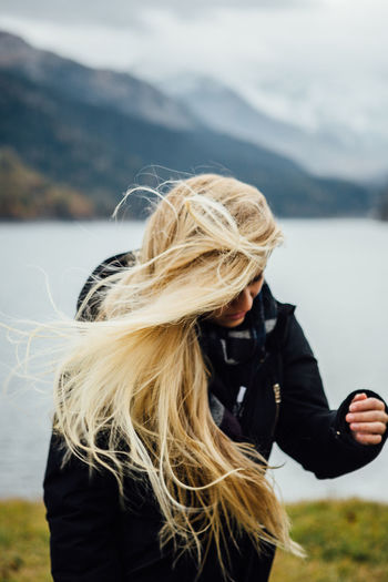 Autumn Beautiful Blonde Colors Fall Colors Freedom Graubünden Happiness Schweiz Winter Wintertime Woman Beauty In Nature Cold Fall Lake Landscape Long Hair Mountain Mountain Lake Outdoors Swiss Swiss Alps Switzerland Windy