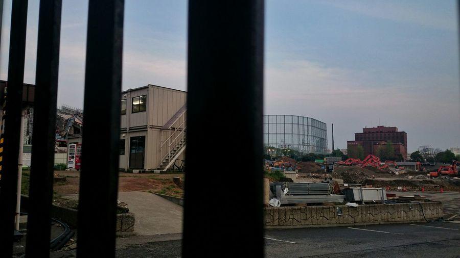 千駄谷門から見た 工事中の国立競技場。日本青年館が見えます。 Olympic Stadium Under Construction Demolished Taking Photos Snapshot Snap
