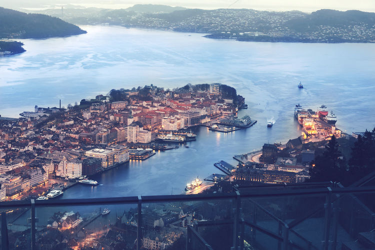 Aerial View Architecture Bergen,Norway Building Exterior City Cityscape Day Harbor Illuminated Nautical Vessel No People Outdoors Sea Skyscraper Sunset Travel Destinations Urban Skyline Water